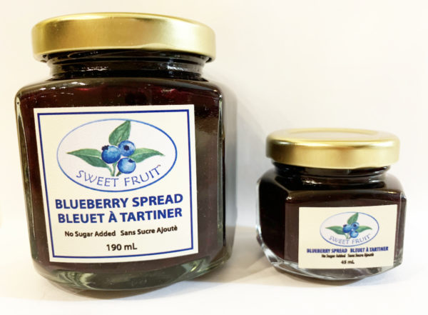 Blueberry spread 2 different jar sizes